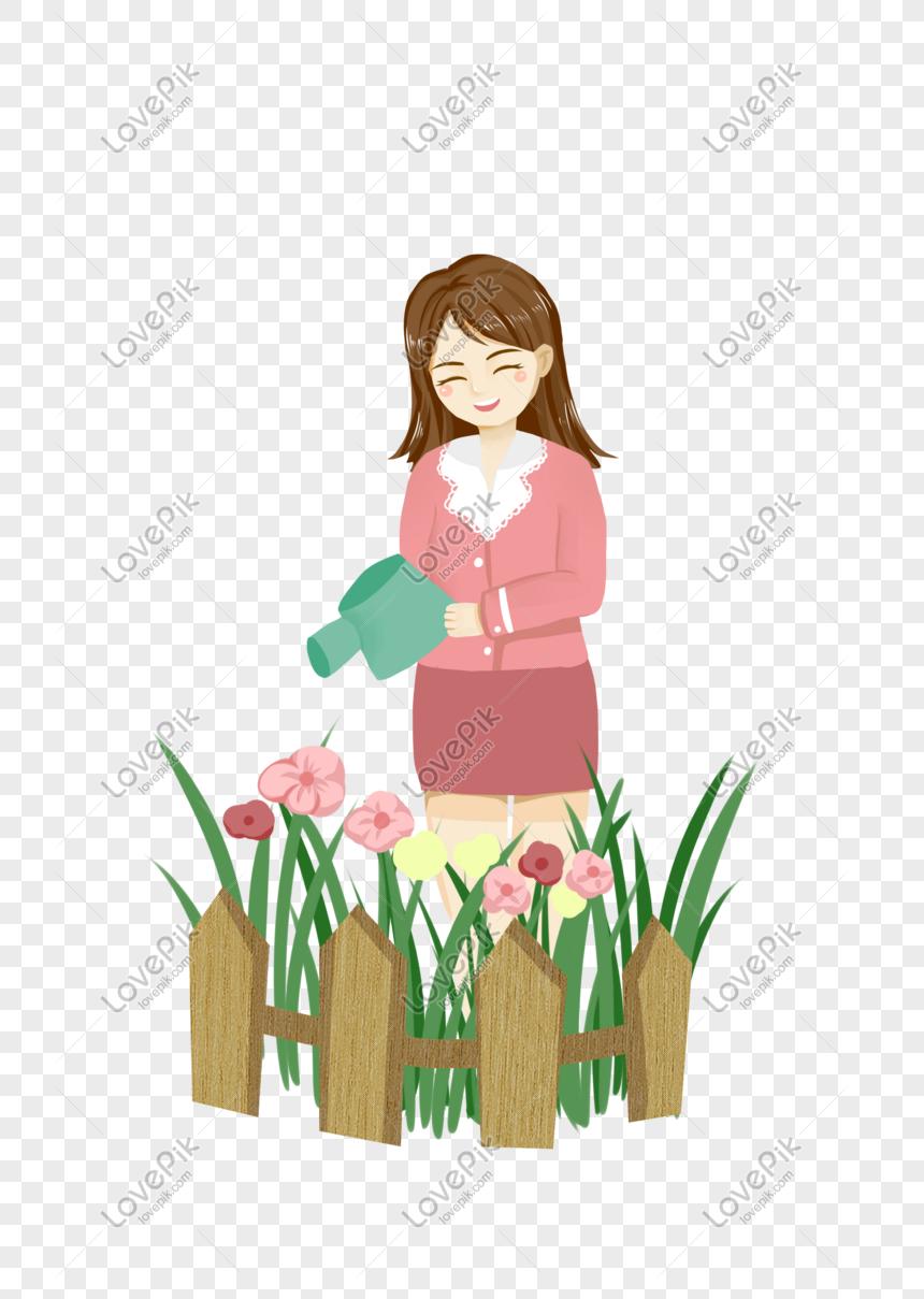 Guru Hari Guru Karakter Penyiraman Bunga Kartun Ilustrasi