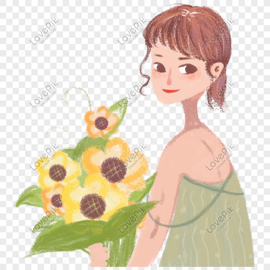 Ilustrasi Angin Krayon Girlish Dengan Bunga Matahari Png Png Grafik Gambar Unduh Gratis Lovepik