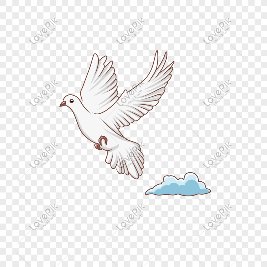 hand drawn ancient style theme white crane cloud illustration png
