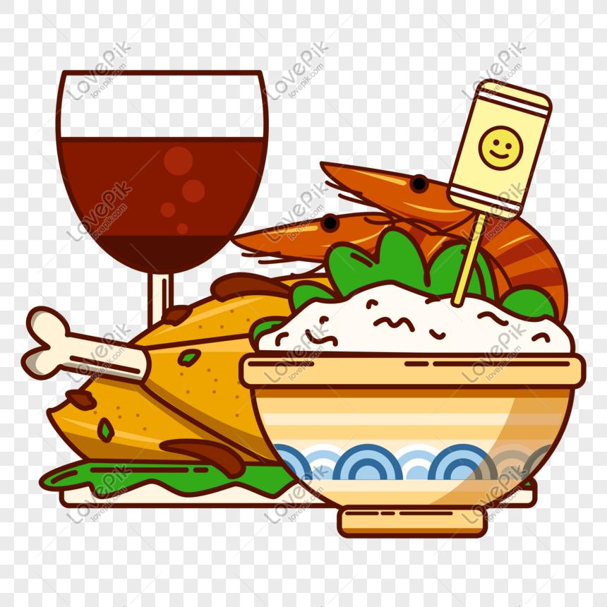 Vektor Gaya Datar Gourmet Makanan Makan Malam Adegan Kecil Gambar