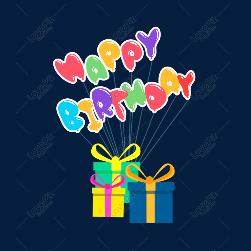 happy birthday balloon gift box png png