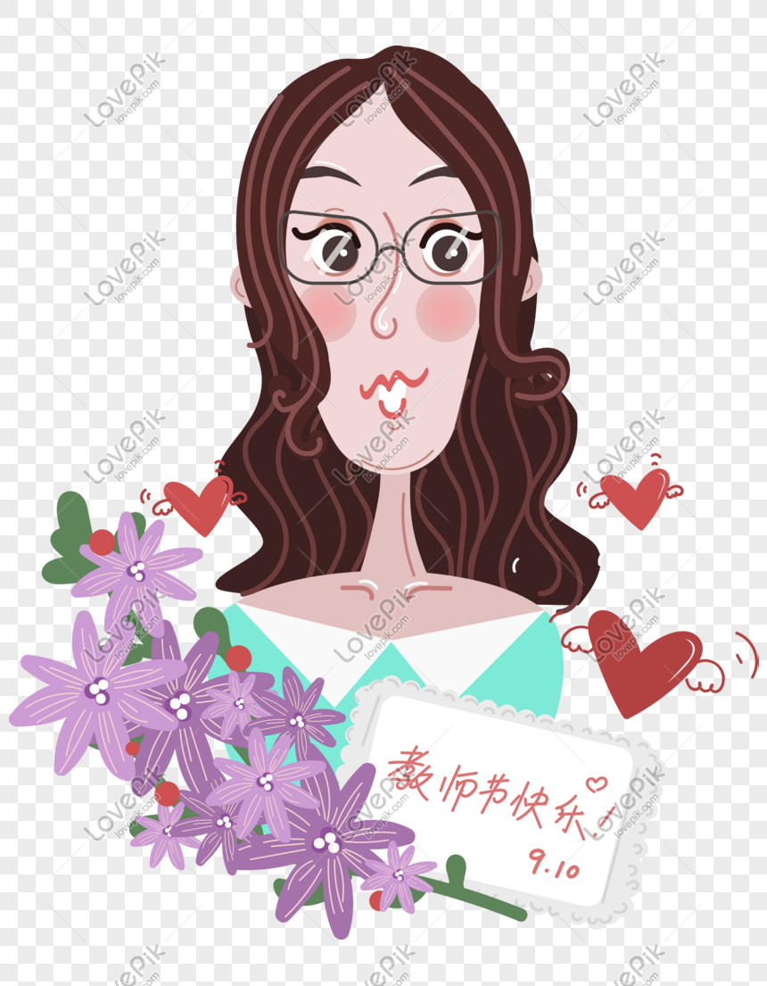 Guru Kartun Hari Guru Guru Drawn Perempuan Gambar Unduh