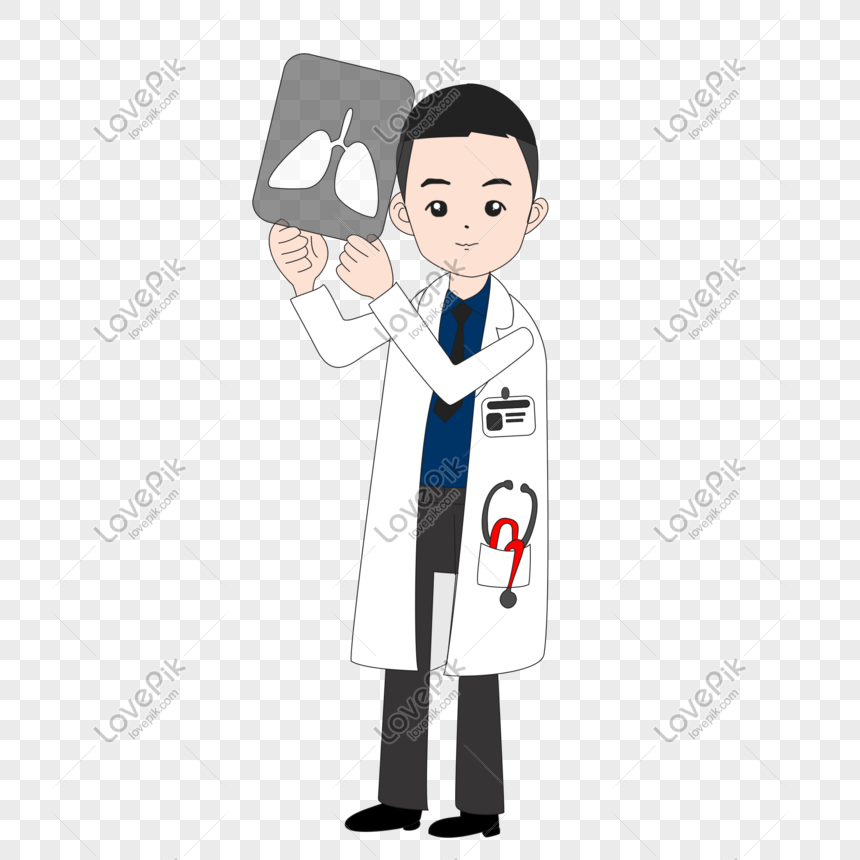 Medical doctor looking at tablet hand drawn vector png