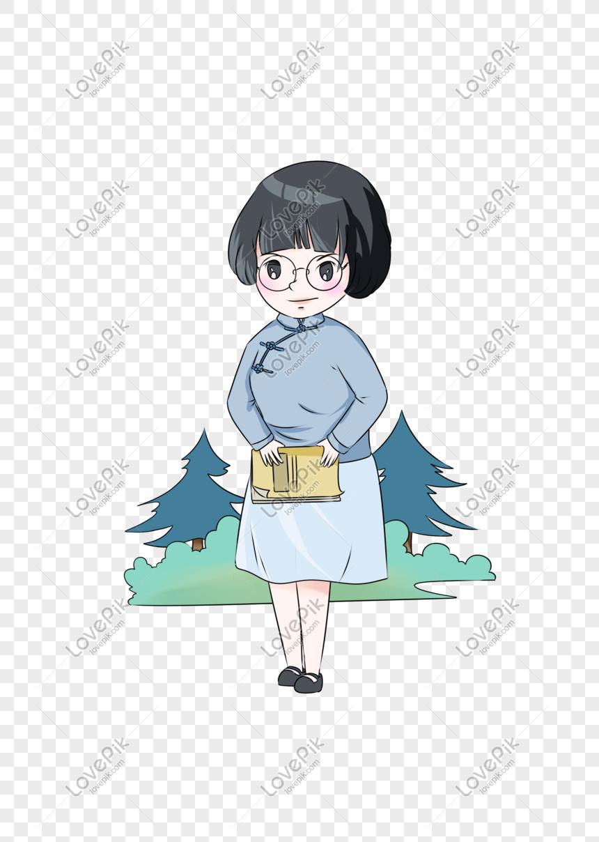 Teachers Day Glasses Female Teacher Cartoon Character Png
