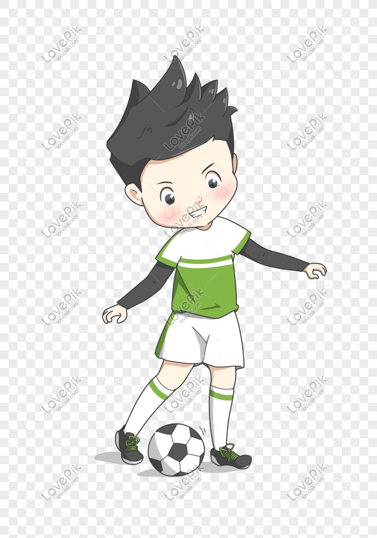 Kartun Yang Ditarik Tangan Menendang Pelajar Lelaki Bola