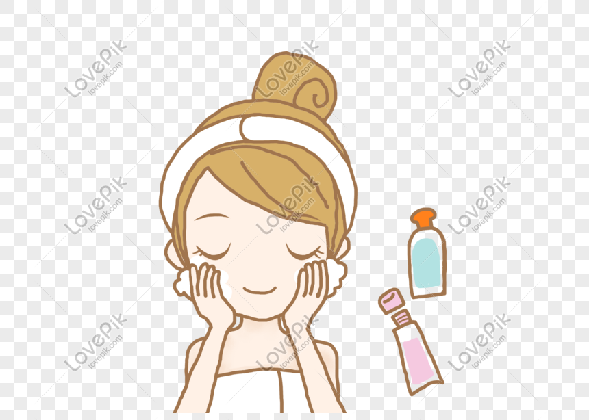 Hand Drawn Illustration Beauty Skincare Cute Girl Wash Face Png Png Image Picture Free Download 611159140 Lovepik Com