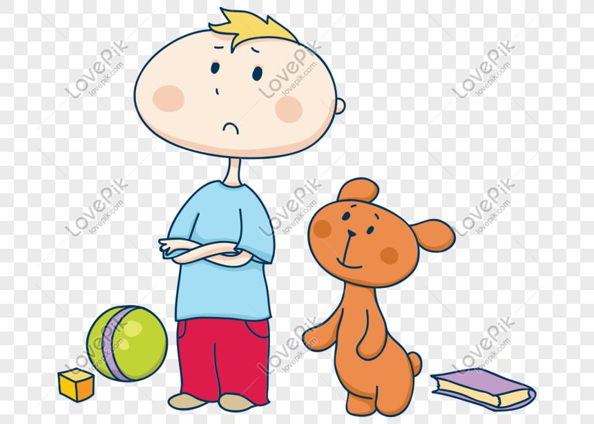 Vector Cartoon Boy Dan Bear Teddy Gambar Unduh Gratis Imej 611174873 Format Psd My Lovepik Com