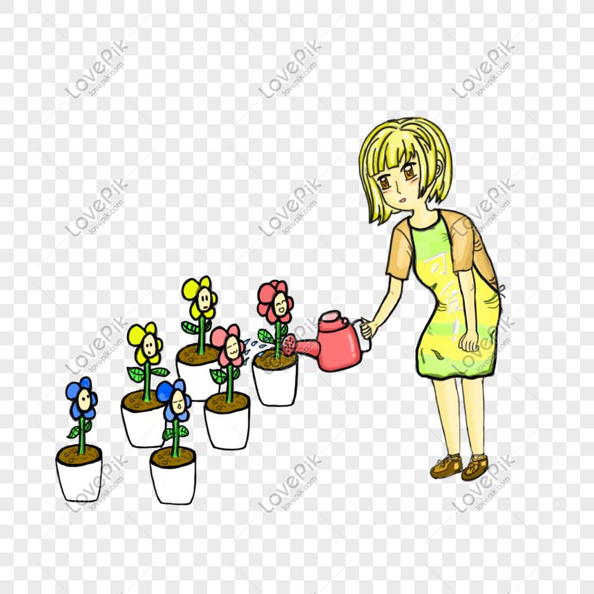 Maestro Jardinero Regando Flores Imagen Descargarprf Gráficos