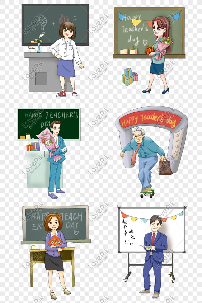 Hand Drawn Math Teacher S Day Teacher Illustration Png