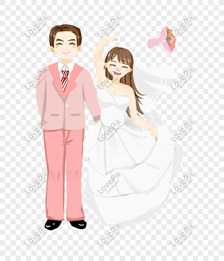 Romantic Wedding Couple Couple Hand Drawn Cartoon Png