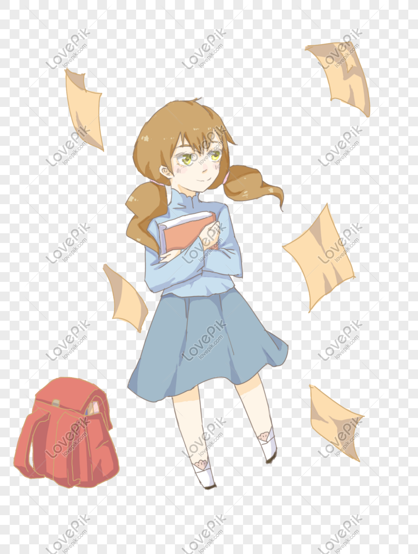 Open School Garden Theme Cute Female Student Cartoon
