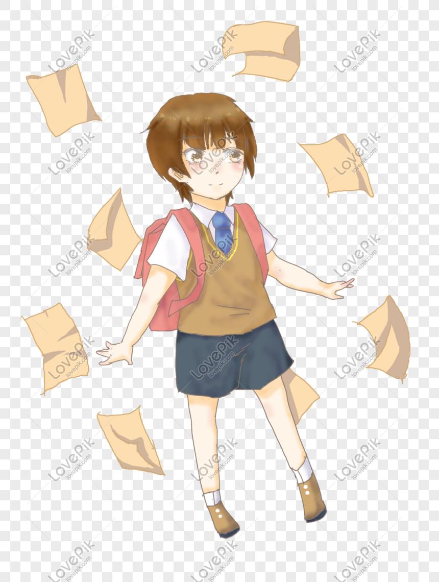 Photo De Illustration De Dessin Anime Garcon Theme Ecole Ouverte