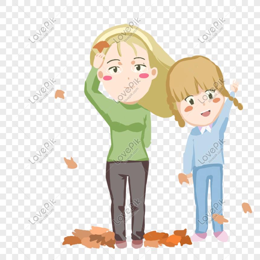 Kartun Ibu Dan Anak Perempuan Menikmati Ilustrasi Jatuh Daun Mus Png Grafik Gambar Unduh Gratis Lovepik