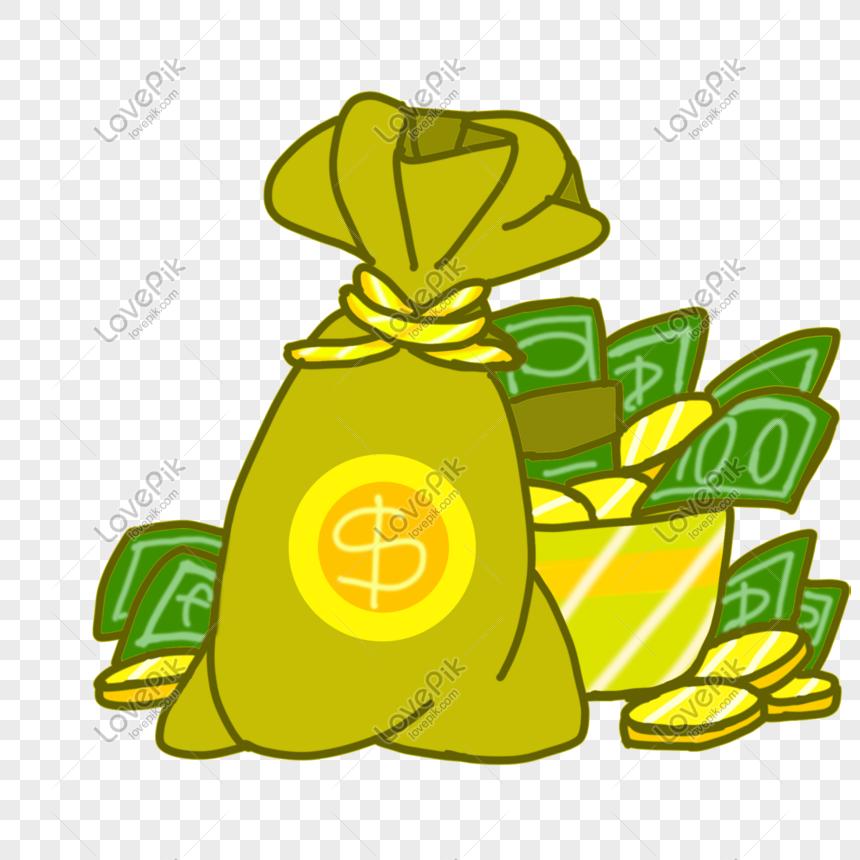 Gambar Uang Koin Kartun Ilustrasi Kantong Uang Dolar Koin Png Grafik Gambar Unduh Gratis Lovepik