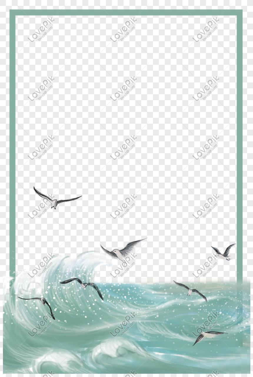 Perbatasan Tema Laut Dan Burung Camar PNG Grafik Gambar