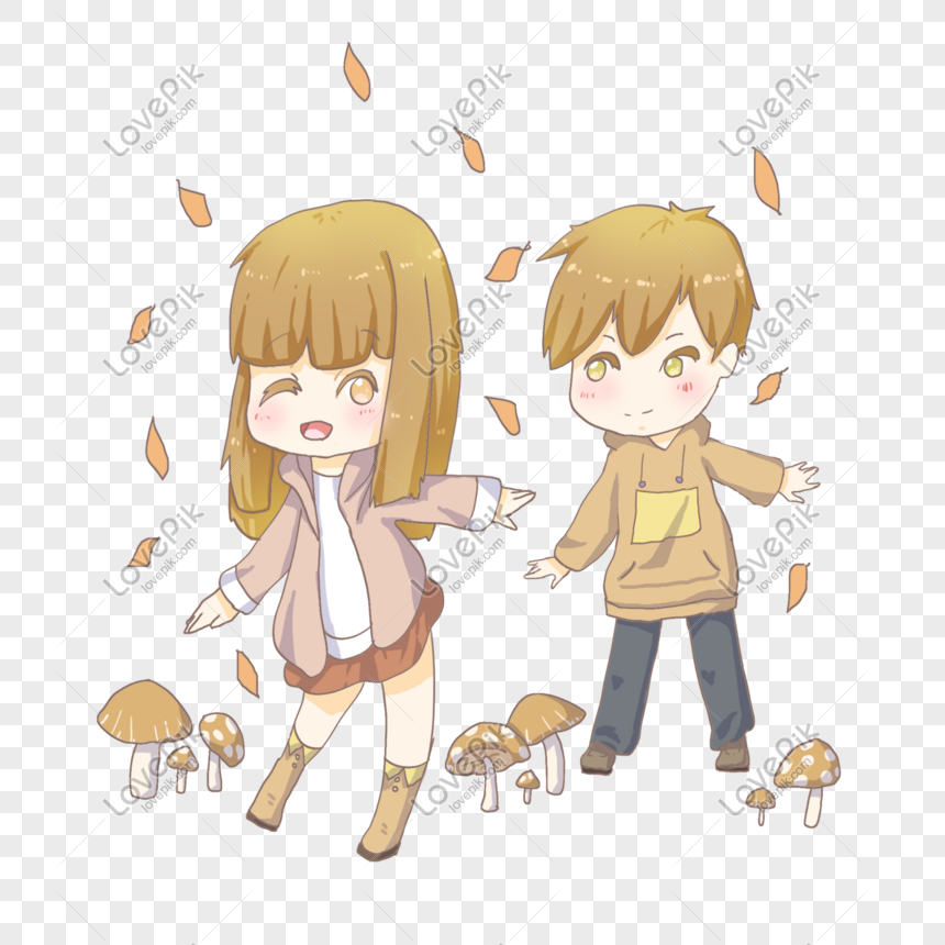 Autumn Cartoon Girl And Boy Characters Illustration Png Image Picture Free Download 611241538 Lovepik Com