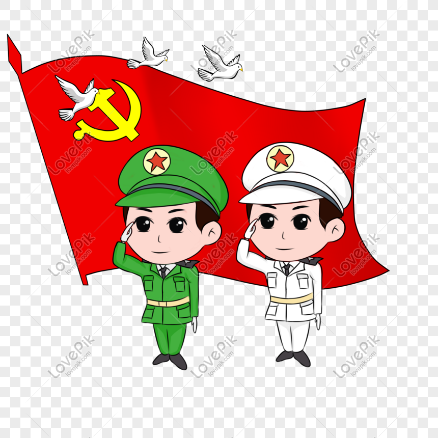National Day Cartoon Hand Drawn Military Salute Red Flag Waving Png Image Picture Free Download 611254947 Lovepik Com
