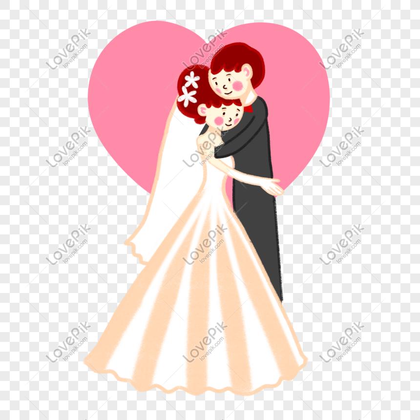 Kartun Vektor Dilukis Tangan Comel Pengantin Perkahwinan Segar D