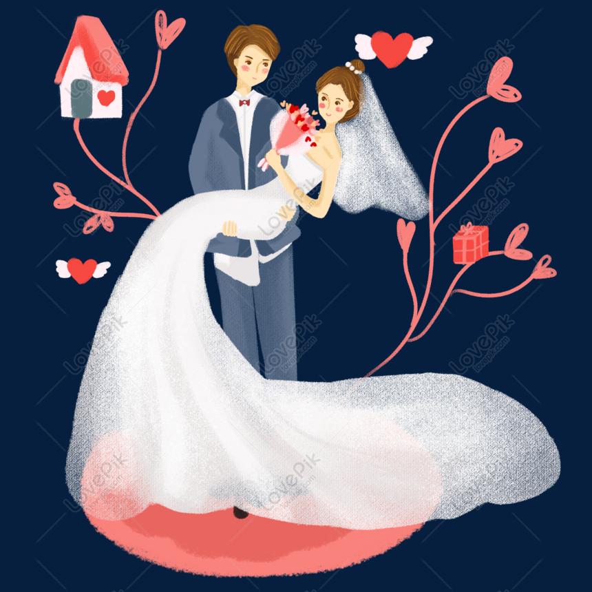 রোমান্টিক দম্পতি বিবাহের হাত বিনামূল্যে চিত্রণ টানা png