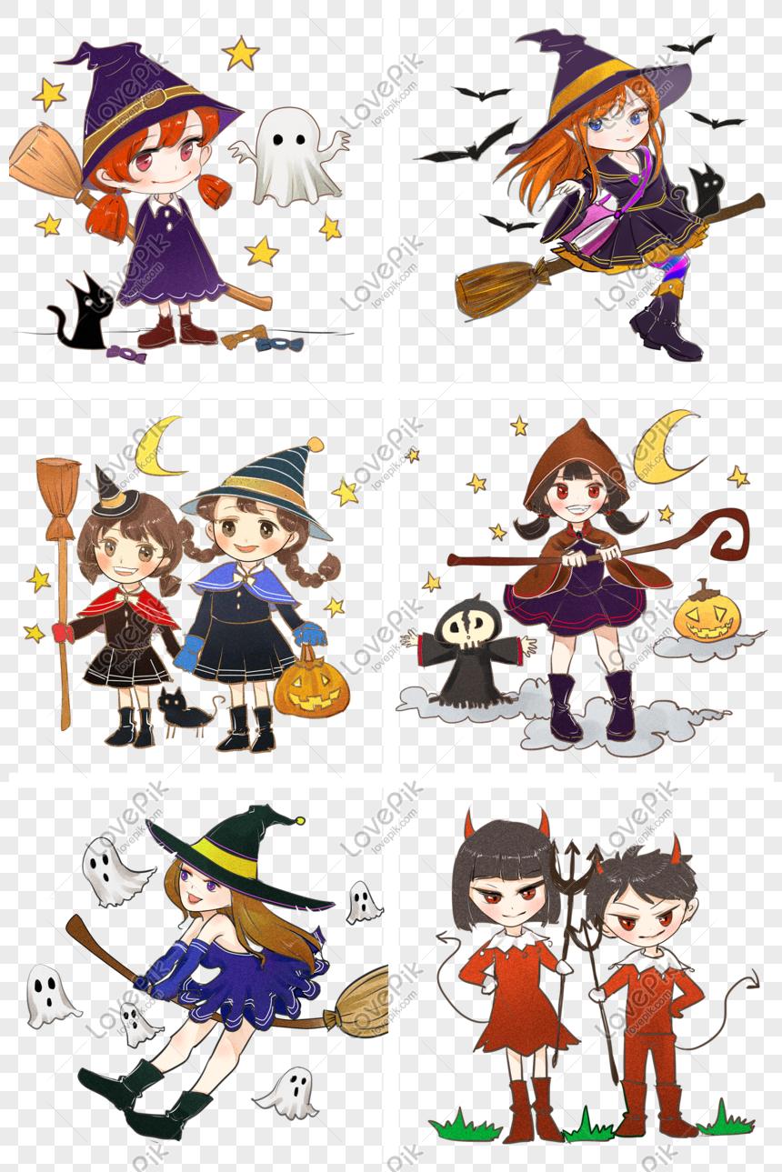 Koleksi Halloween Lucu Kartun Yang Ditarik Tangan Gambar