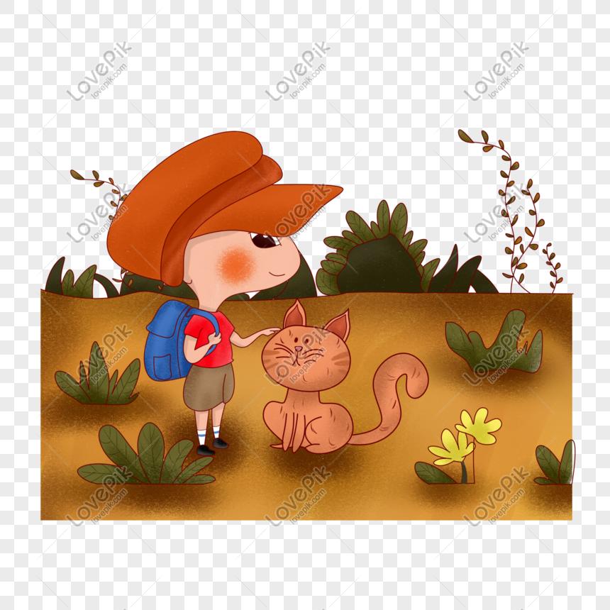 Kanak Kanak Dan Kucing Bergerak Bersama Sama Lukisan Tangan Gambar Unduh Gratis Imej 611287899 Format Psd My Lovepik Com