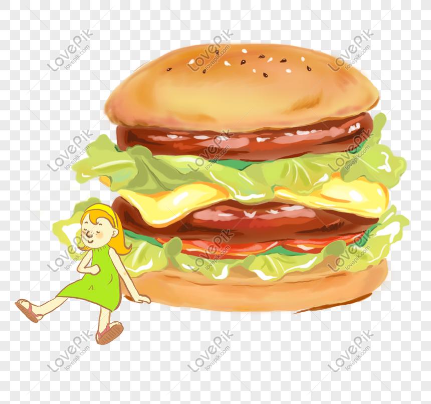 Gourmet Dengan Animasi Kartun Gadis Lucu Gambar Burger Ilustrasi