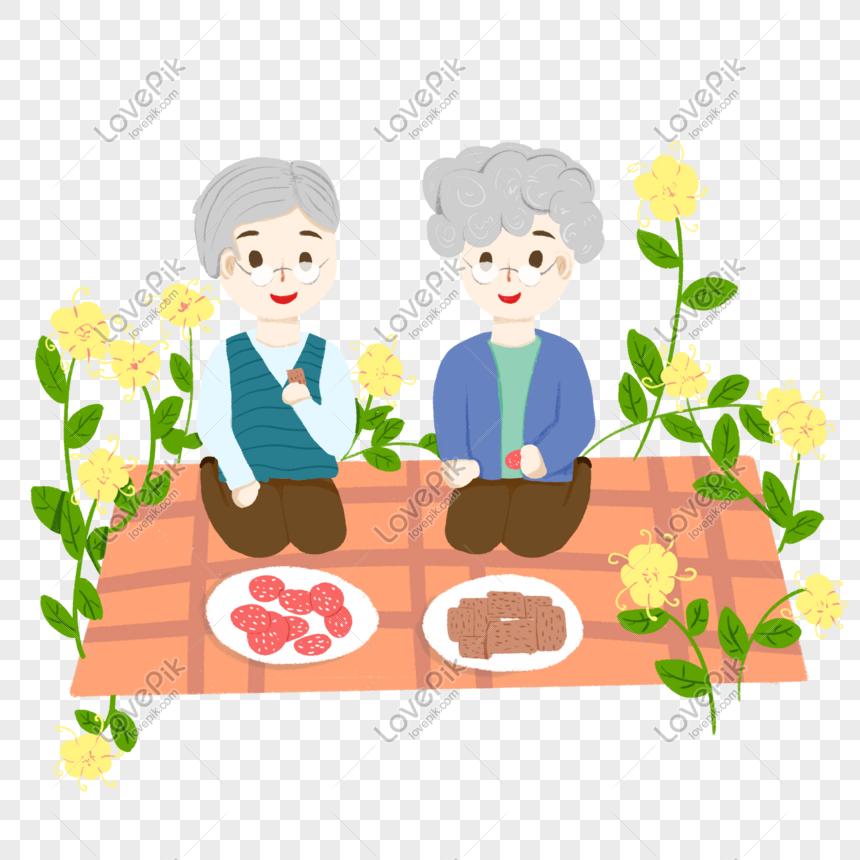 avós e avós saem para um piquenique juntos png