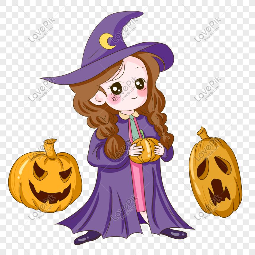 kostum penyihir halloween berdandan ilustrasi ungu