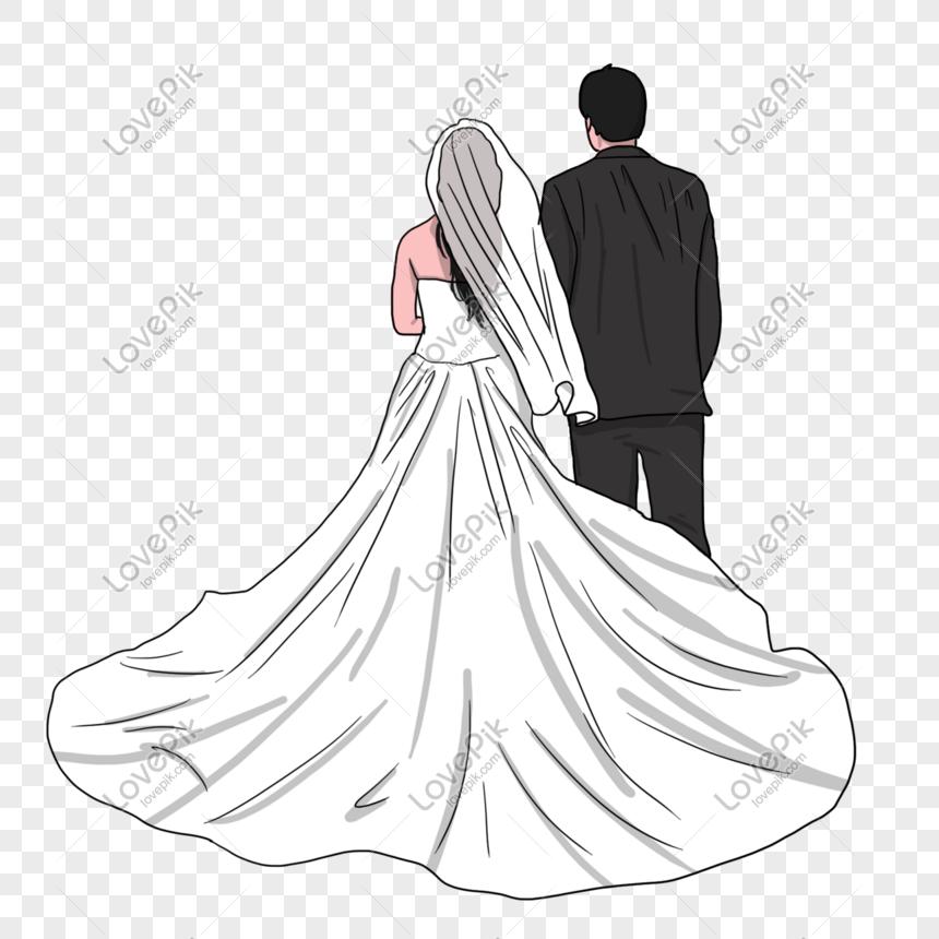 a29b6d31a boda temporada novia y el novio con vestido europeo volver ilust ...