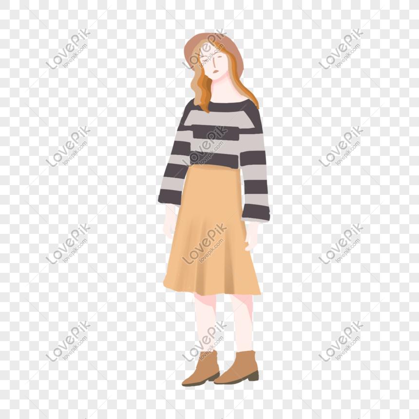 64de90b9f ropa de moda para mujer pintada a mano de dibujos animados de ot ...