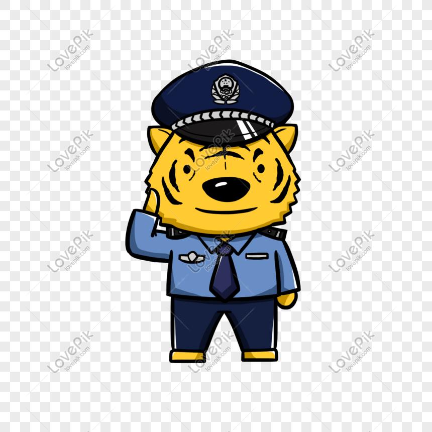 Dibujado A Mano Dibujos Animados Animal Tigre Policía Imagen