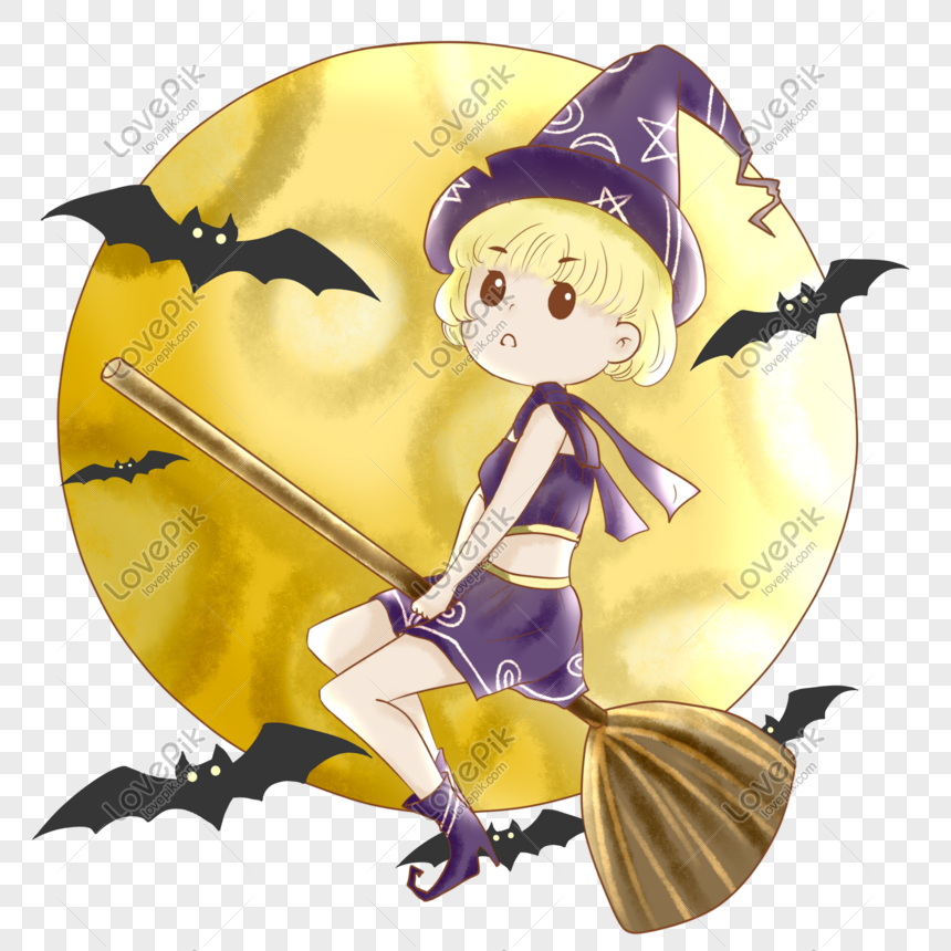 penyihir halloween menunggang ilustrasi penyapu terbang