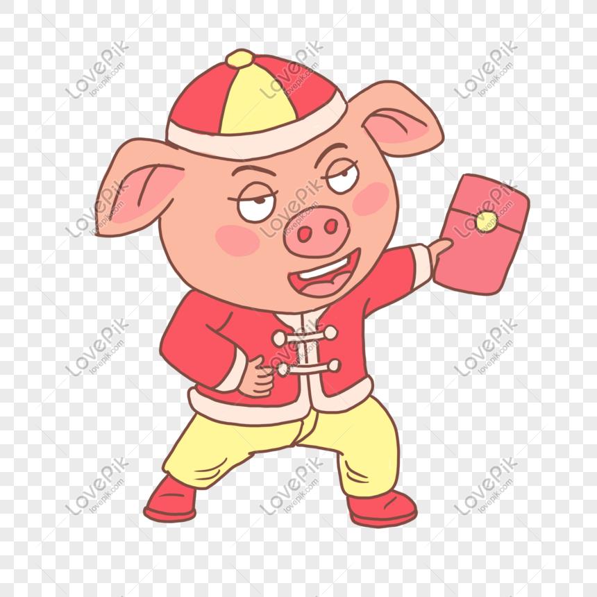 pig year 2019 cartoon piglet vẽ tay gói màu đỏ Hình ảnh   Định dạng
