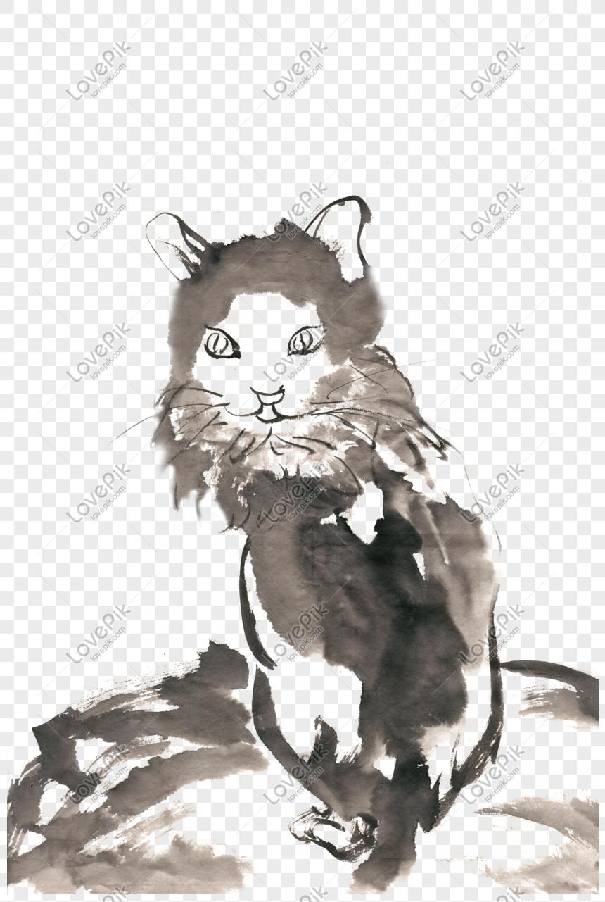 Yavru Kedi Murekkep Boyama Png Ucretsiz Malzeme Resim Grafik