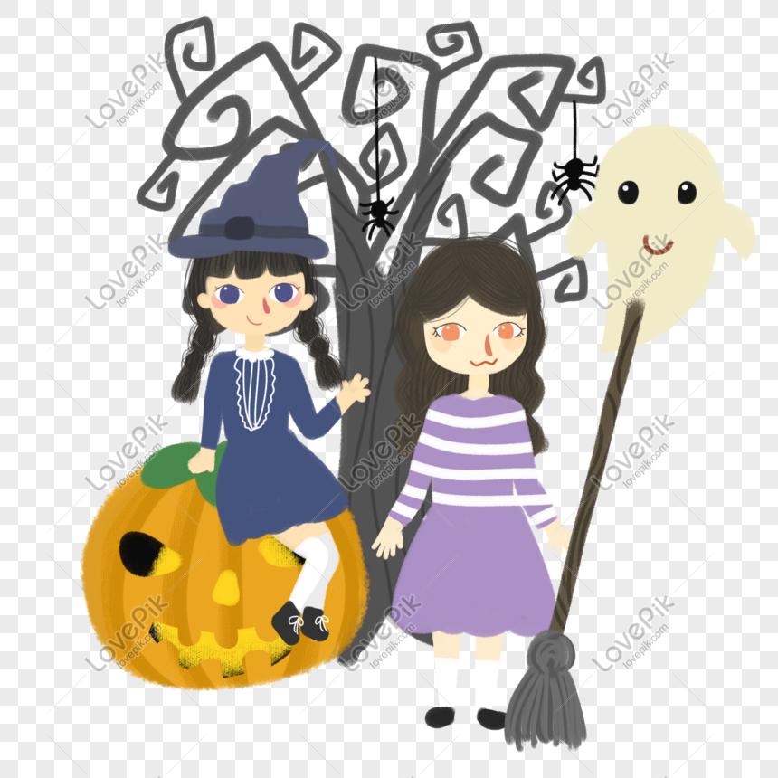Photo De Halloween Chaud Couleur Dessin Animé Vent Fille