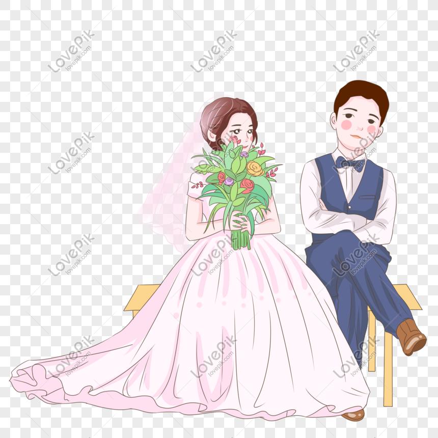 f549586e8 novia y el novio tomando una foto de boda ilustración Imagen ...
