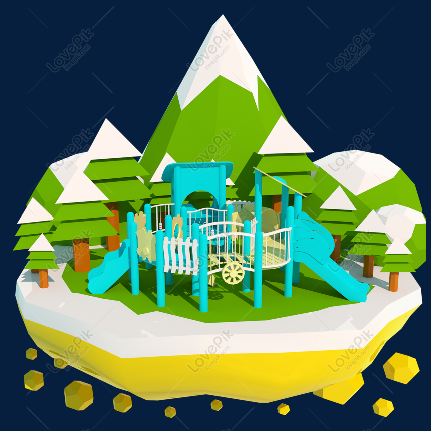 Blue 3d cartoon amusement park slide stereo c4d png image_picture