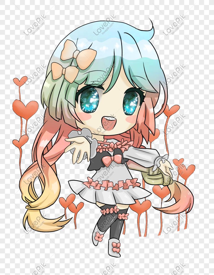 Cute Q Versi Gadis Cantik Jepun Ilustrasi Gambar Unduh