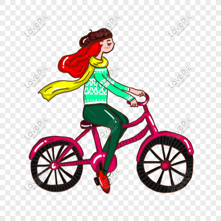 Cartoon Girl On Bike Cycling Autumn Trip Png Image Picture Free Download 611338471 Lovepik Com