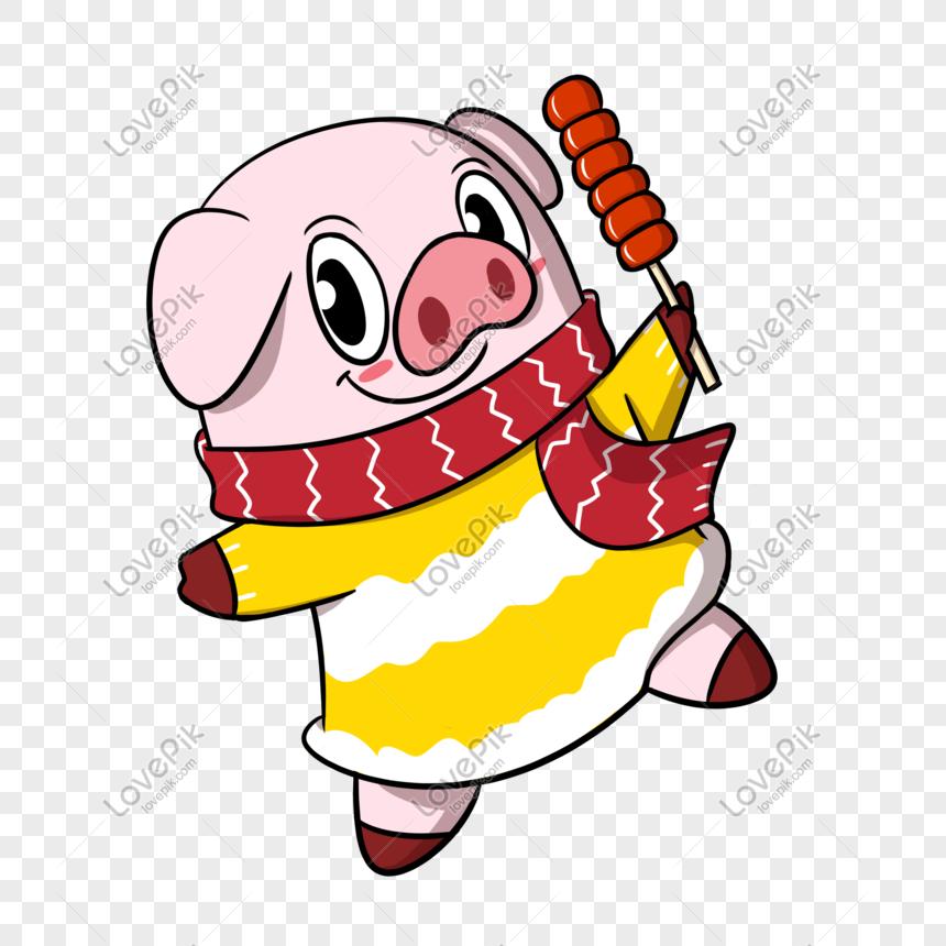 Photo De Dessin Anime Cochon Nouvel An Manger Bonbon Gourde Png