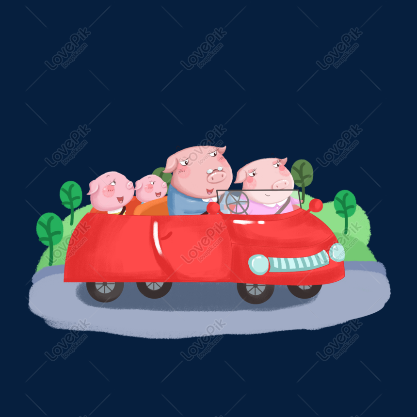 Cartoon Hand Drawn Pig Family Car Travel Png Image Picture Free Download 611345479 Lovepik Com