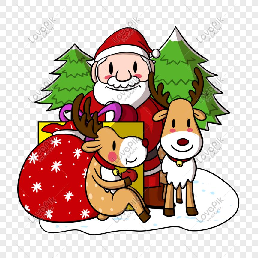 Cartoon Santa Claus And Reindeer Png Transparent Bottom Png Image Picture Free Download 611353330 Lovepik Com
