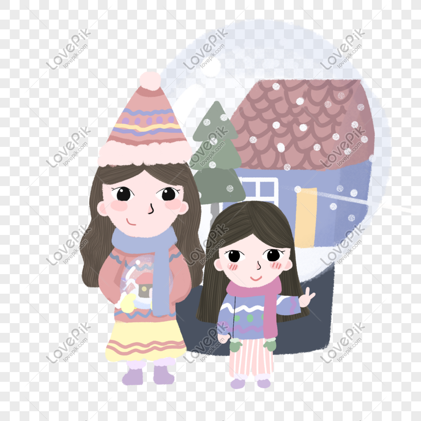 Winter Warm Color Cartoon Hand Drawn Style Two Little Girls Fant