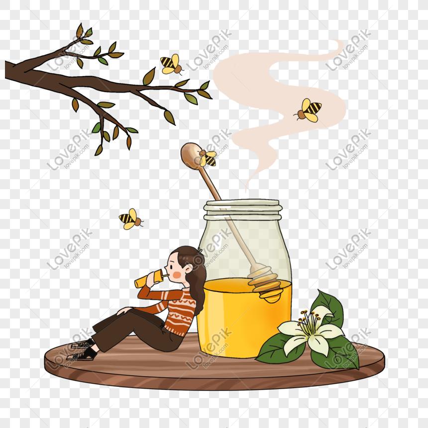 Minuman Kesehatan Bergizi Madu Tubuh Tongkat Kartun Yang Dilukis