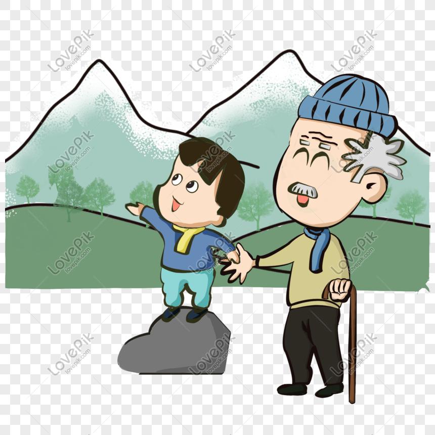 baceda981dc ropa de invierno abuelo nieto escalada montaña sombrero bufanda ...