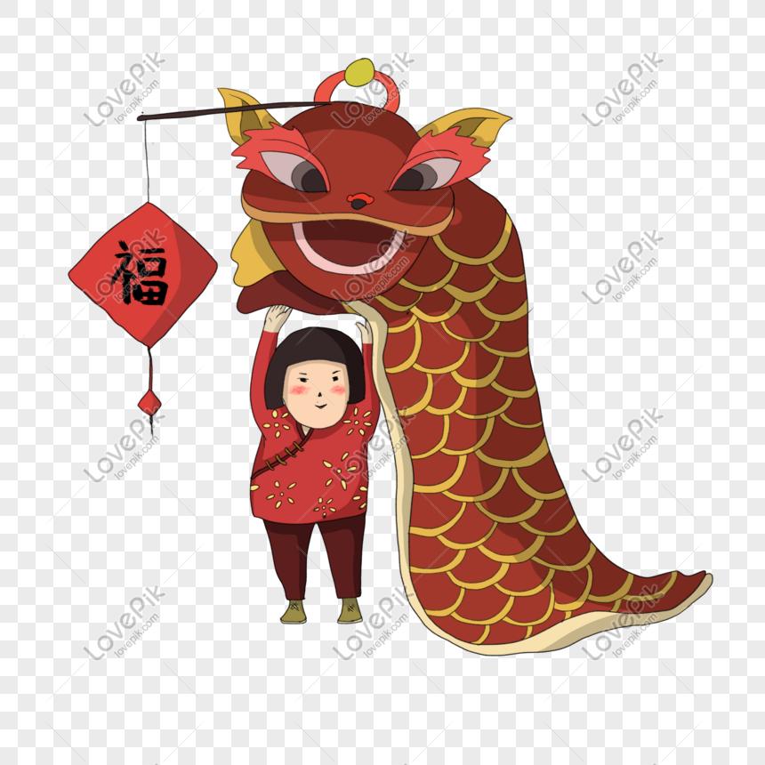 Gambar Lukisan Watak Tarian Naga Tahun Baru Cina Gambar Unduh Gratis Imej 611377060 Format Psd My Lovepik Com