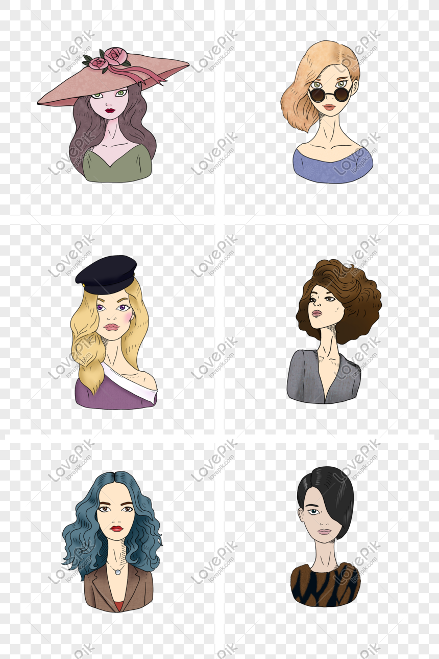 hand painted cartoon european and american retro style girl bust png