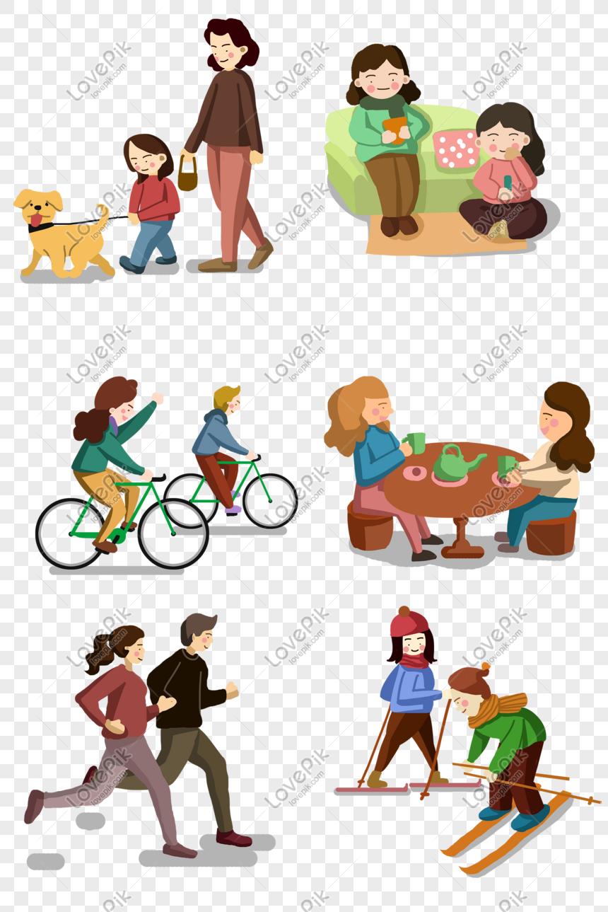Pengumpulan Ilustrasi Kartun A Hidup Sihat Keluarga