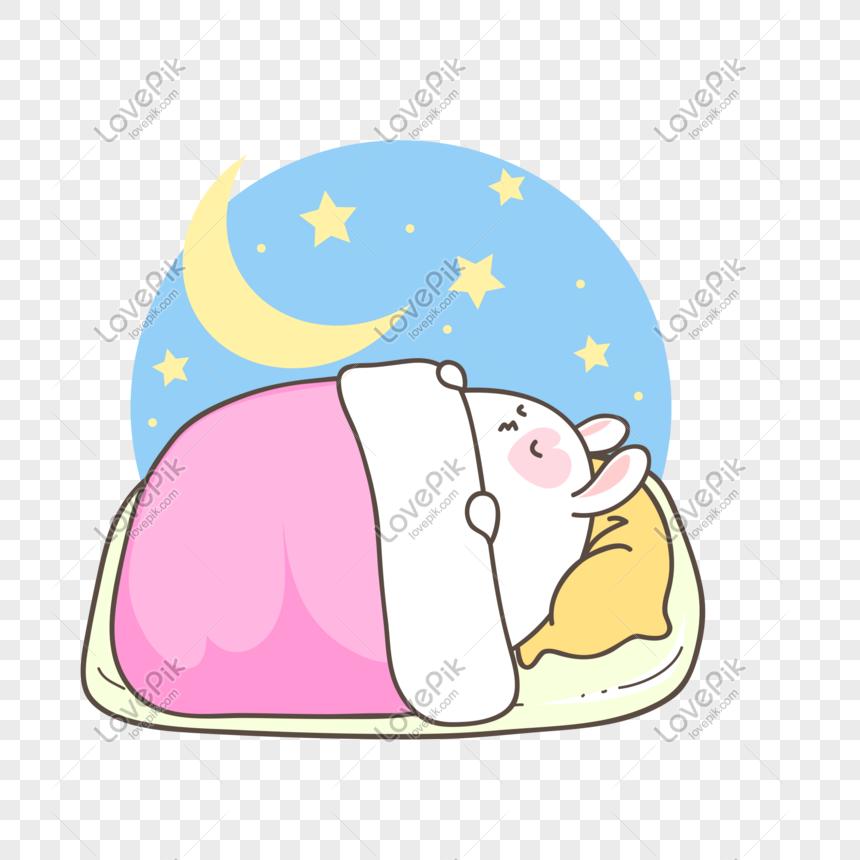 Kartun Lucu Sedang Tidur Kelinci Lucu Png Grafik Gambar Unduh Gratis Lovepik