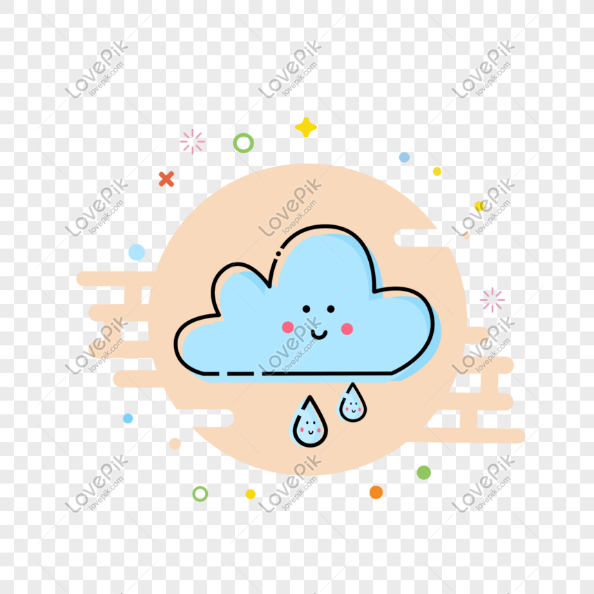 hand drawn mbe style light rain weather icon png
